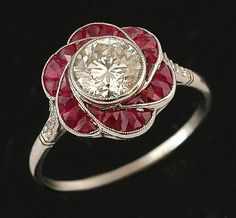 Rare 14k White Yellow Gold Antique Art Deco Red Ruby Pearl Filigree Ring.