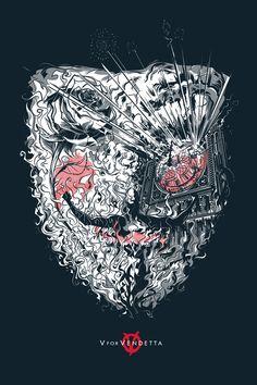 """V For Vendetta"" by César Moreno. 24"" x 36"" Screenprint. Ed of 300 N."