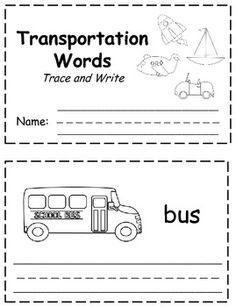 transportation words trace write book writing writing a book books writing. Black Bedroom Furniture Sets. Home Design Ideas