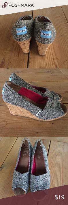 """TOMS Cork Wedge TOMS Classic Wedge (Natural Linen with Cork Wedge) These have been gently worn. The heel is about 3"""" TOMS Shoes Wedges"""