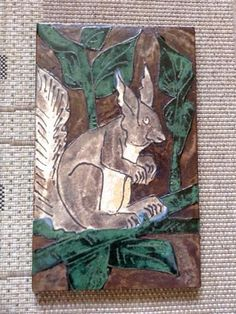 Handpainted Ruscha wall decoration,  60s / 70s  Squirrel picture  Numbered and stamped