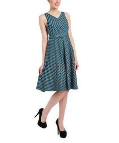 Blue Stripe Leena A-Line Dress - Plus Too