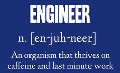 Engineer: An organism that thrives on caffeine and last minute work. Check out that cool T-Shirt here: https://www.sunfrog.com/trust-me-im-an-engineer-NEW-DESIGN-2016-Black-Guys.html?53507