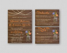 Autumn Wedding Invitation Set Suite Printable with RSVP Response Card and Wedding Info Details Card - Mason Jar Flowers Wooden Planks Fall