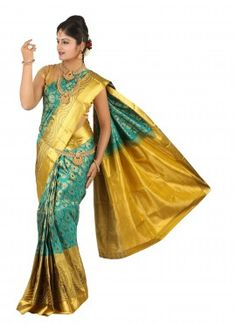 1Turquoise Peacock feather design wedding  silk saree - kss945707