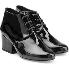Robert Clergerie Patent Leather Lace Up Ankle Boots (530 CAD) ❤ liked on Polyvore featuring shoes, boots, ankle booties, black, black lace up bootie, chunky black boots, black bootie, black boots and lace up bootie