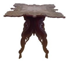 Anglo-Indian Square Shaped Carved Walnut Table on Chairish.com