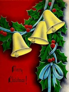 "vintage ""Garlands of holly & golden bells"" Christmas Card Images, Vintage Christmas Images, Christmas Graphics, Christmas Mom, Retro Christmas, Vintage Holiday, Christmas Greeting Cards, Christmas Projects, Christmas Greetings"