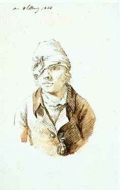 Self-Portrait with Cap and Sighting Eye-Shield - Caspar David Friedrich.  1802.  Pencil, brush, and ink.  175 x 105 mm.  Kunsthalle Hamburg, Hamburg, Germany.