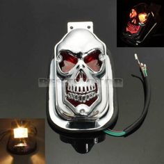MOTORCYCLE SKULL REAR TAIL LIGHT Lamp FOR HARLEY Chrome Case Red Rear Light Tail Light Led Light Online with $30.85/Piece on Fusen16888's Store | DHgate.com