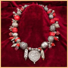 Red and Silver Necklace ancient coral, cinnabar, cherry dyed Chinese jade, crimson jade, Turkoman silver, Nepali teardrops, Indian pendant.
