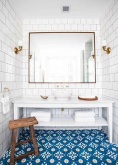 Halcyon House is a boutique hotel located at Cabarita Beach, Northern New South Wales. Anna Spiro worked on the project from its inception. She helped the owners create a place. Moroccan Tile Bathroom, White Bathroom Tiles, Bathroom Floor Tiles, Tile Floor, Bathroom Mirrors, Bathroom Layout, Bathroom Ideas, Ceramic Floor Tiles, Dream Bathrooms