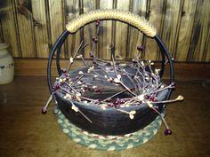 Carved wood & iron basket