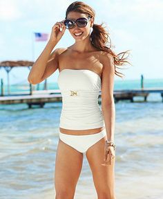 MICHAEL Michael Kors Bandeau Tankini Top & Solid Hipster Brief Bottom