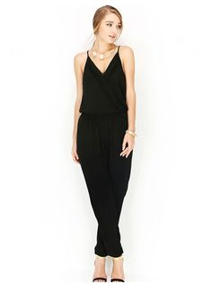 Black Crossover Front Jumpsuit with Elastic Waist