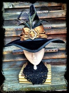 steampunk witch hat - Google Search Steampunk Witch, Steampunk Halloween, Halloween Witch Hat, Steampunk Diy, Holidays Halloween, Halloween Decorations, Halloween Costumes, Witch Hats, Halloween Projects
