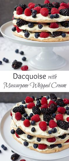 Looking for best Christmas desserts? Dacquoise cake - is a super delicate almond meringue cake that is lighter than air. Learn how to make this classic French cake in a step-by-step tutorial. Healthy Dessert Recipes, Cupcake Recipes, Easy Desserts, Delicious Desserts, Cupcake Cakes, Elegant Desserts, Cupcakes, Frosting Recipes, Pavlova