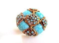 Art Deco Turquoise Rhinestone Brooch 1930s Vintage Jewelry. $38.00, via Etsy.