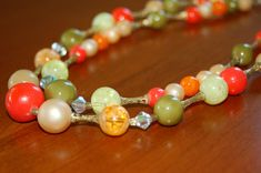 #Vintage #Beaded #DemiParure Necklace and Clip-On Earring Set in #Citrus Colors, Orange Green Peach Beaded Necklace, #MadMen Era Jewelry - SOLD! :)