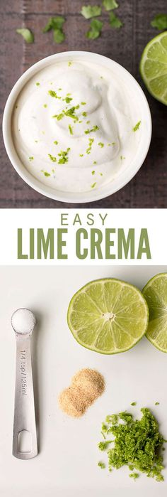 Lime crema is used as a fish taco cream sauce but I use it on ALL the tacos, including chicken, pork and steak too. Leftovers are perfect in tortilla soup and Mexican-style baked potatoes too! :: DontWastetheCrumb… by romangolez Fish Taco Sauce, Sauce For Fish Tacos, Fish Taco Crema Recipe, Fish Taco Toppings, Fish Taco Coleslaw Recipe, Fish Taco Marinade, Cilantro Lime Crema Recipe, Fish Taco White Sauce, Gourmet