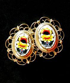 Vintage Micro Mosaic Oval Floral Clip Earrings  by RAKcreations