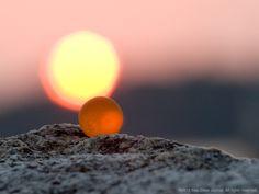 Sea Glass Photography - Impression Sunset - Orange Sea Glass Marble