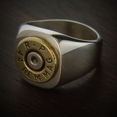 Handmade Bullet Ring, Built for a Texas Man! If you Love Texas, this Bullet Ring is for you! Magnum displayed perfectly on a JECTZ® Original Marksman Band. Bullet Ring, Bullet Jewelry, Bullet Earrings, Jewelry Rings, Silver Jewelry, Silver Rings, Jewellery Box, Jewellery Making, Jewelry Rack
