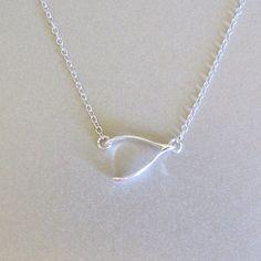 Silver Sideways Wishbone Necklace by tangerinejewelryshop on Etsy, $38.00