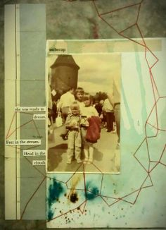 I love how she has use the string to connect elements - depict a journey.  Kasia Breska - collage on antique book cover