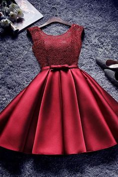 Bowknot-Sash Red Lace-Up-Back A-line Homecoming Dresses Quality Wedding Dresses, Prom Dresses, Evening Dresses, Bridesmaid Dresses, Homecoming Dress OKDRESSES offers Cheap Burgundy A A Line Short Satin Homecoming Dresses for prom with reasonable price and Cheap Dresses, Cute Dresses, Short Dresses, Girls Dresses, Prom Dresses, Formal Dresses, Wedding Dresses, African Bridesmaid Dresses, Dama Dresses
