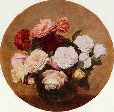 Oil-Henri-Fantin-Latour-A-Large-Bouquet-of-Roses-flowers-canvas