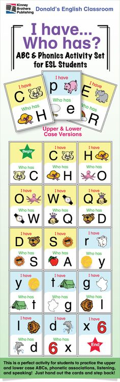 ABC & Phonics I Have/Who Has - Using the ABCs is a perfect way to introduce this fun activity to your younger students.  Great for large or small groups, this all-in-one game is easy to set up and very easy to play.  Enjoy!  $1.50 on TpT  #ESL #ELL #EFL