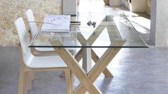 Table Xili salle a manger verre bois