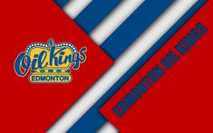 Download wallpapers Edmonton Oil Kings, WHL, 4K, Canadian Hockey Club, material design, logo, red blue abstraction, Edmonton, Canada, Western Hockey League