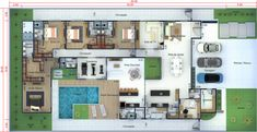 Rancho Monte Vista Luxury Apartment Homes Pool House Plans, 2 Bedroom House Plans, Bungalow House Plans, Facade Design, House Design, Fachada Colonial, Modern Villa Design, Floor Plants, Luxury Apartments