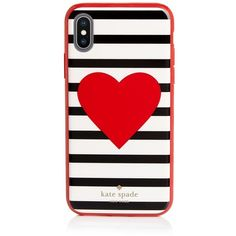 kate spade new york Heart Stripe iPhone X Case (€27) ❤ liked on Polyvore featuring accessories, tech accessories, phone and kate spade