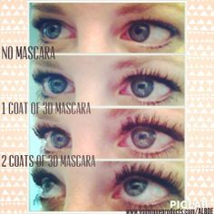 This was my experiment w/ the 3D Mascara!  1st pic shows bare lashes, 2nd pic is w/ 1 coat of the 3D Mascara & last pic is w/ 2 coats!  Seriously the most AMAZING mascara!! I have tried every mascara known to man & NOTHING has even come to close to helping my tiny little lashes like this has!! At $29 it is way better than expensive eyelash extensions, falsies or Rx for Latisse. <3  Try it for yourself by ordering at www.youniqueproducts.com/ALBOE #younique #mascara #beauty #makeup