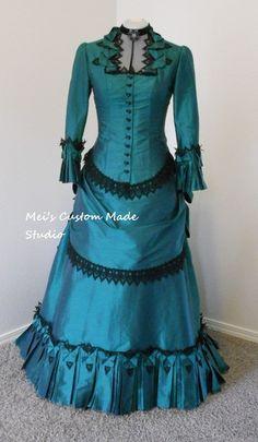 Hecho a la medida de estilo francés del siglo 18o Noble vestido de novia vintage Bullicio victoriana tafetán / partido / vestido de vestuario(China (Mainland))
