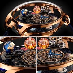 Spectacular Astronomia Solar by Jacob & Co! - Pre-Basel 2017 - 44.5 mm rose gold case, in-house caliber JCAM19, biaxial flying tourbillon, 60-second rotating Earth #jacobandco #jacobandcoastronomia #finewatchmaking #hautehorlogerie #baselworld2017