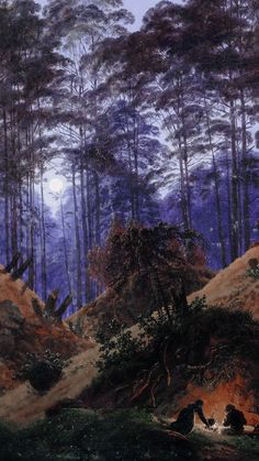 "klassizismus: ""─ Forest in Moonlight, in the foreground are people around a bright fire by Caspar David Friedrich "" Caspar David Friedrich Paintings, Casper David, Forest Painting, Yellow Art, Pre Raphaelite, Landscape Art, Moonlight, Art History, Cool Art"