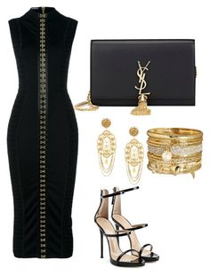 Black Goddess by liahstyles on Polyvore featuring polyvore fashion style Balmain Giuseppe Zanotti Yves Saint Laurent Avenue Dolce&Gabbana clothing
