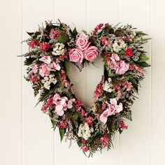Inspiration for valentine or wedding decorating Williams Sonoma - Pink Rose & Heart Wreath