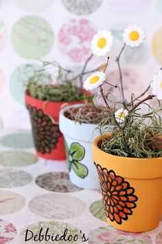 mini dollar terra cotta pots painted with chalky-paint and liquid fill martha stewart clings