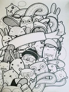 Super Cute Monster Doodle - by dushky Doodle Wall, Doodle Art Drawing, Doodle Sketch, Kawaii Doodles, Cute Doodles, Doddle Art, Doodle Monster, Doodle Characters, Doodle Inspiration