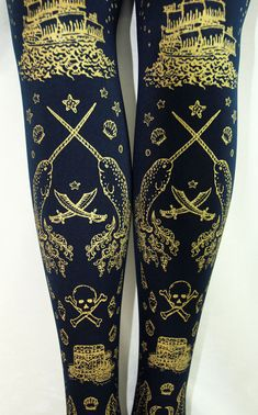 Pirate Printed Tights Narwhal Tattoos Medium Tall Gold on Navy Blue Women Nautical Tattoo Sailor