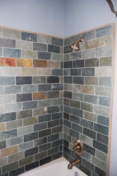Slate tile set on running bond in shower