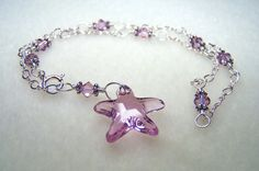 Crystal Jewelry - Starfish Jewelry - Silver Anklet - June Birthstone - Ankle Bracelet with Light Amethyst Swarovski Crystal - Adjustable