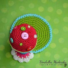 Mushroom coaster crochet pattern DIY by VendulkaM on Etsy