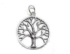 Colgante de plata lisa con forma de árbol de la vida de dimensiones 2,5 cm x 2,5 cm