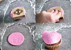 Fondant stamping. I have done this with an embossing plate & a roller too. Gives great texture to cake!